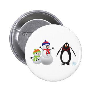 Schneemänner und Pinguin Runder Button 5,1 Cm