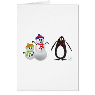 Schneemänner und Pinguin Grußkarte