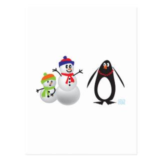 Schneemänner und Pinguin Postkarte