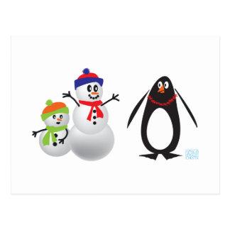 Schneemänner und Pinguin Postkarten