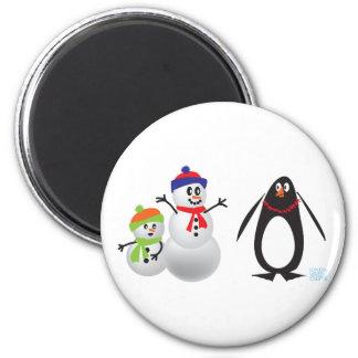 Schneemänner und Pinguin Runder Magnet 5,1 Cm