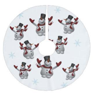 Schneemänner und Schneeflocken Polyester Weihnachtsbaumdecke