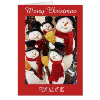 Schneemänner von allen uns frohe Weihnacht-Karte Karte