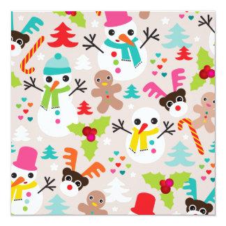 Schneemanningwerbrot-Weihnachtspostkarte Quadratische 13,3 Cm Einladungskarte