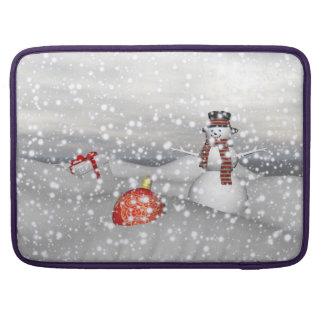 Schneemannweiß und -geschenk sleeve für MacBooks