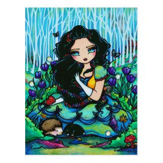 Schneewittchen-Zwerg-Fantasie-feenhafte Postkarte