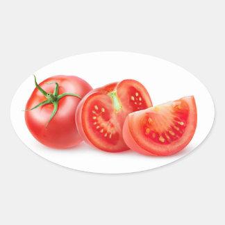 Schneiden Sie Tomate Ovaler Aufkleber