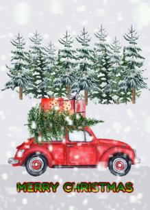 Auto Weihnachtsbaum.Auto Mit Weihnachtsbaum Karten Zazzle De