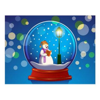 Schnekugel mit dem Schneemann-Gesang Postkarte