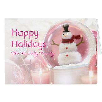 Schnekugel mit rosa Bällen Karte