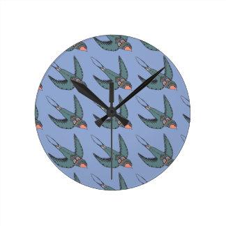 Schnell Swooping Schwalben-Uhr-Blau Runde Wanduhr