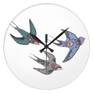 Schnell Swooping Schwalben-Uhr Große Wanduhr