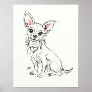 Schnelle Skizze des Chihuahua-Kunstdruckes | Poster