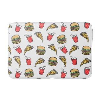 Schnellimbiss-Pizza-Burger-Getränk-Muster Badematte
