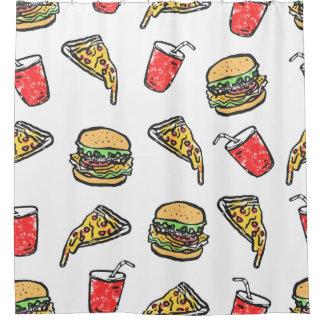 Schnellimbiss-Pizza-Burger-Getränk-Muster Duschvorhang