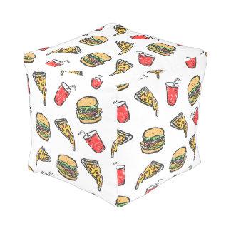 Schnellimbiss-Pizza-Burger-Getränk-Muster Kubus Sitzpuff