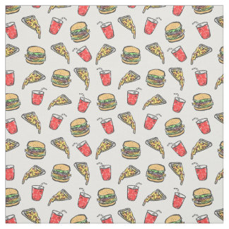 Schnellimbiss-Pizza-Burger-Getränk-Muster Stoff