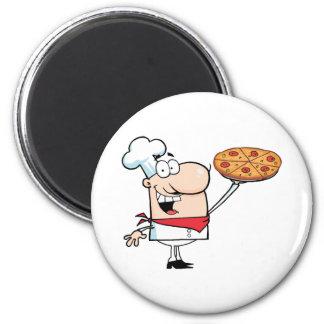 Schnellimbiss-stolzer Koch halten Pizza Runder Magnet 5,7 Cm