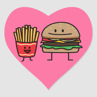 Schnellimbißbrötchenkram des Hamburgers und der Herz-Aufkleber