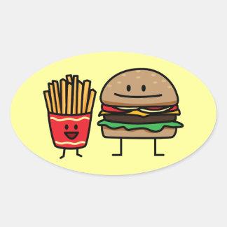 Schnellimbißbrötchenkram des Hamburgers und der Ovaler Aufkleber