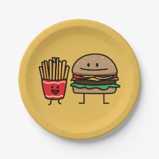 Schnellimbißbrötchenkram des Hamburgers und der Pappteller