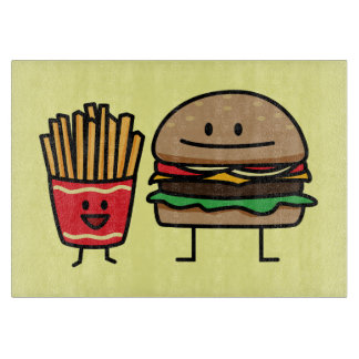 Schnellimbißbrötchenkram des Hamburgers und der Schneidebrett