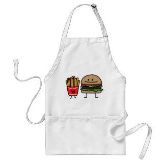 Schnellimbißbrötchenkram des Hamburgers und der Schürze