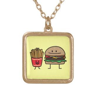 Schnellimbißbrötchenkram des Hamburgers und der Vergoldete Kette