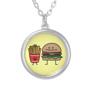 Schnellimbißbrötchenkram des Hamburgers und der Versilberte Kette