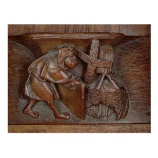 Schnitzen eines Müllers, von einem Chorstall Postkarten