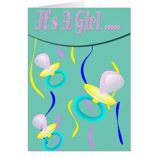 Schnuller ist es ein Mädchen Karte