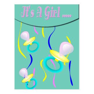 Schnuller ist es eine Mädchen-Geburts-Mitteilung Postkarte