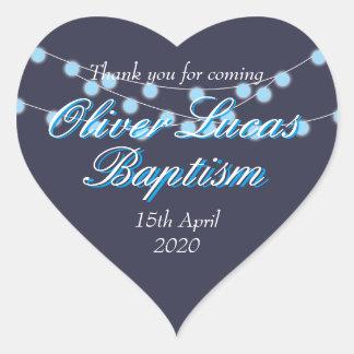 Schnur beleuchtet blaue Taufe-Taufbevorzugung Herz-Aufkleber