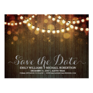 Schnur beleuchtet Goldbokeh Save the Date Postkarte