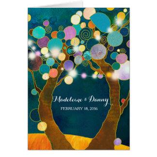 Schnur beleuchtet Liebe-Baum-aquamarine Hochzeit Grußkarte