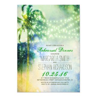 Schnur beleuchtet Palme-Strand-Probenabendessen 12,7 X 17,8 Cm Einladungskarte