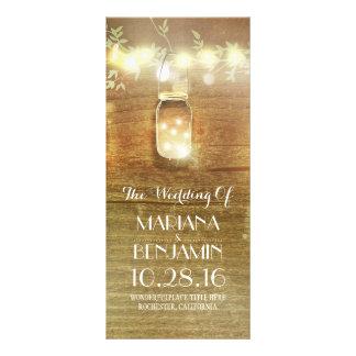 Schnur beleuchtet rustikale Hochzeitsprogramme des Kartendruck