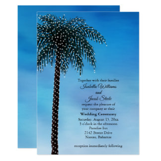 Schnur-Licht-Palme-Hochzeit laden Aquarell ein Karte