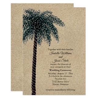 Schnur-Licht-Palme-Hochzeit laden Strand-Sand ein Karte