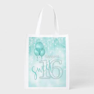 Schnur-Licht-u. Ballon-Bonbon 16 aquamarines ID473 Wiederverwendbare Einkaufstasche