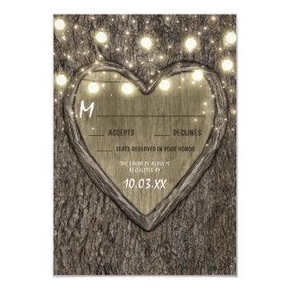 Schnur-Lichter + Eichen-Baum-Barken-Hochzeit UAWG 8,9 X 12,7 Cm Einladungskarte