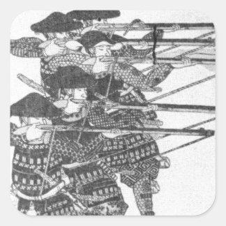 Schnüre für Nachtzündung durch Utagawa Kuniyoshi Quadratischer Aufkleber