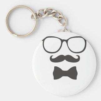 Schnurrbart-Hipster Bowtie Gläser Schlüsselanhänger
