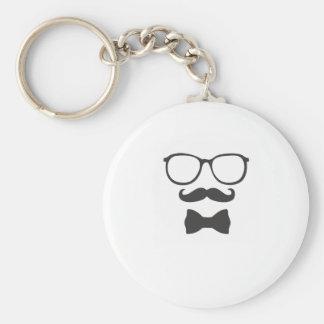 Schnurrbart-Hipster Bowtie Gläser Standard Runder Schlüsselanhänger