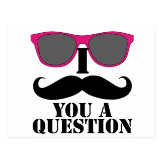Schnurrbart-Spaß mit rosa Sonnenbrillen Postkarte