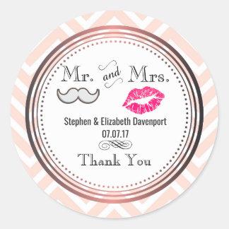 Schnurrbart u. Lippen Herr u. Frau Wedding Thank Runder Aufkleber