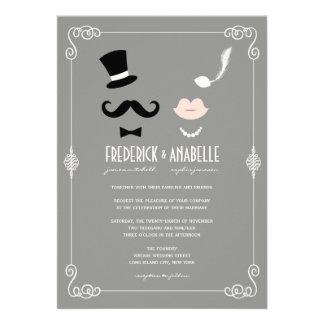 Schnurrbart u. LippenRetro Vintage Chic-Hochzeit Ankündigungskarten