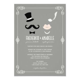 Schnurrbart u. LippenRetro Vintage Chic-Hochzeit 12,7 X 17,8 Cm Einladungskarte