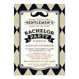 Schnurrbart-u. Rauten-Junggeselle-Party Einladung 12,7 X 17,8 Cm Einladungskarte