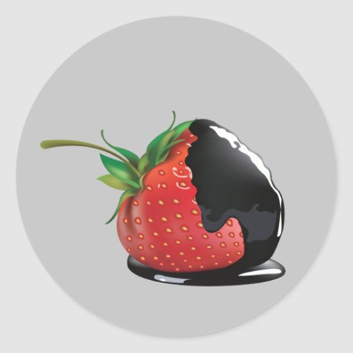 Schokolade bedeckte Erdbeere Aufkleber